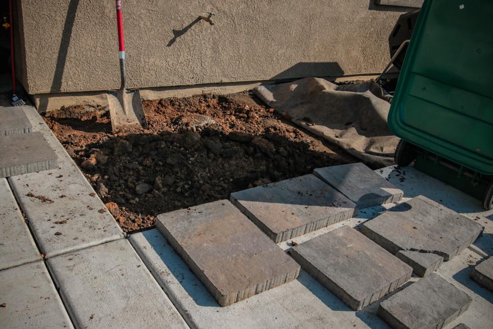 DIY Paver Stone Steps -Removing the Rocks